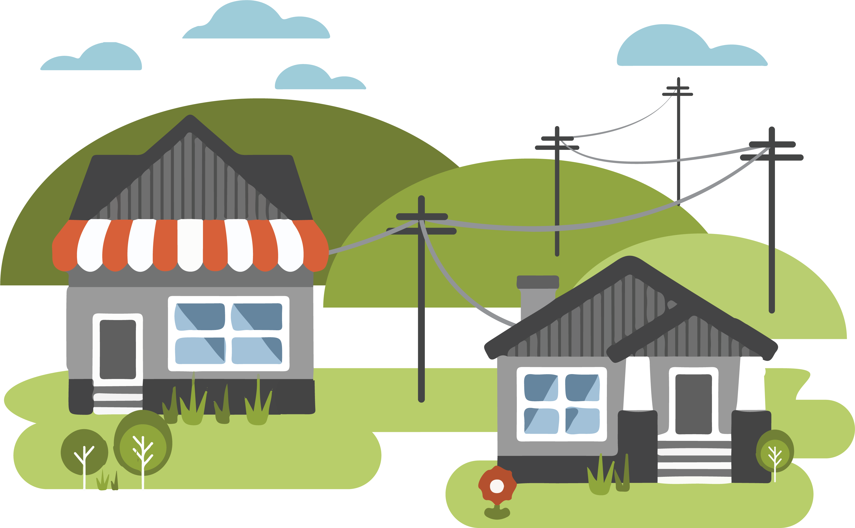 A graphic of a house and a business with utility poles behind them